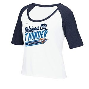 Oklahoma City Thunder Crop Top Baseball Tee NWT M